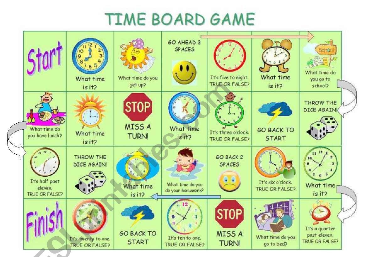 Time board game worksheet