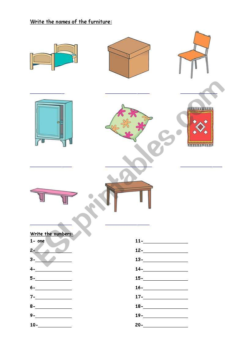 furnitures worksheet