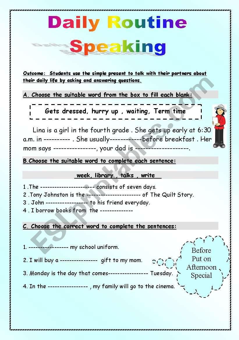 Daily Routine Speaking Esl Worksheet By Manar K