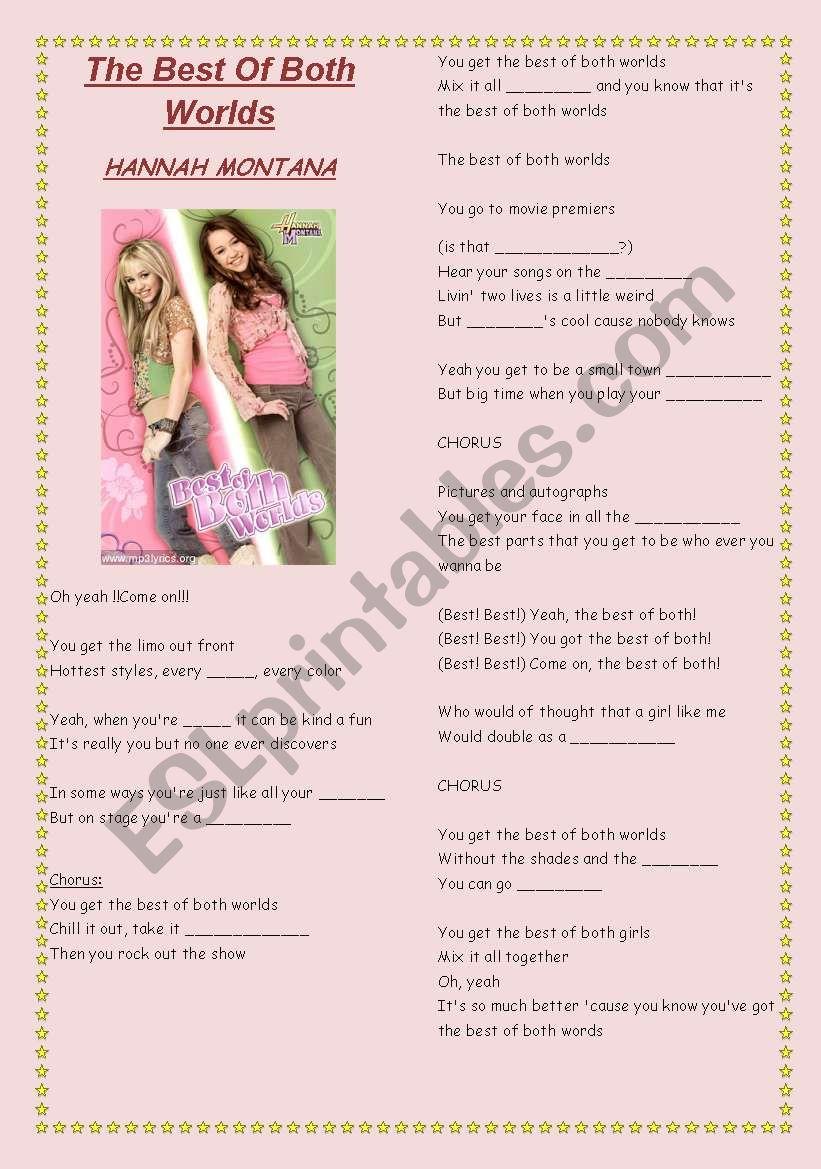 HANNAH MONTANA SONG worksheet