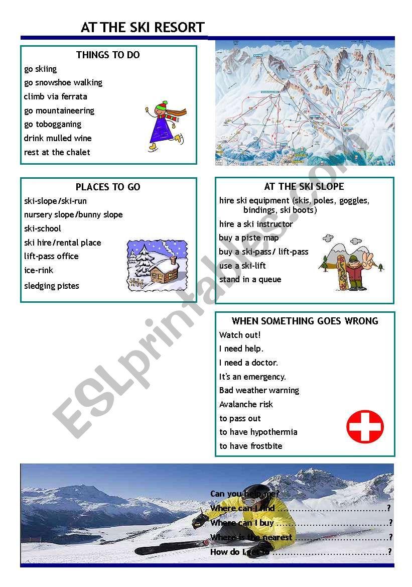 At the ski resort worksheet