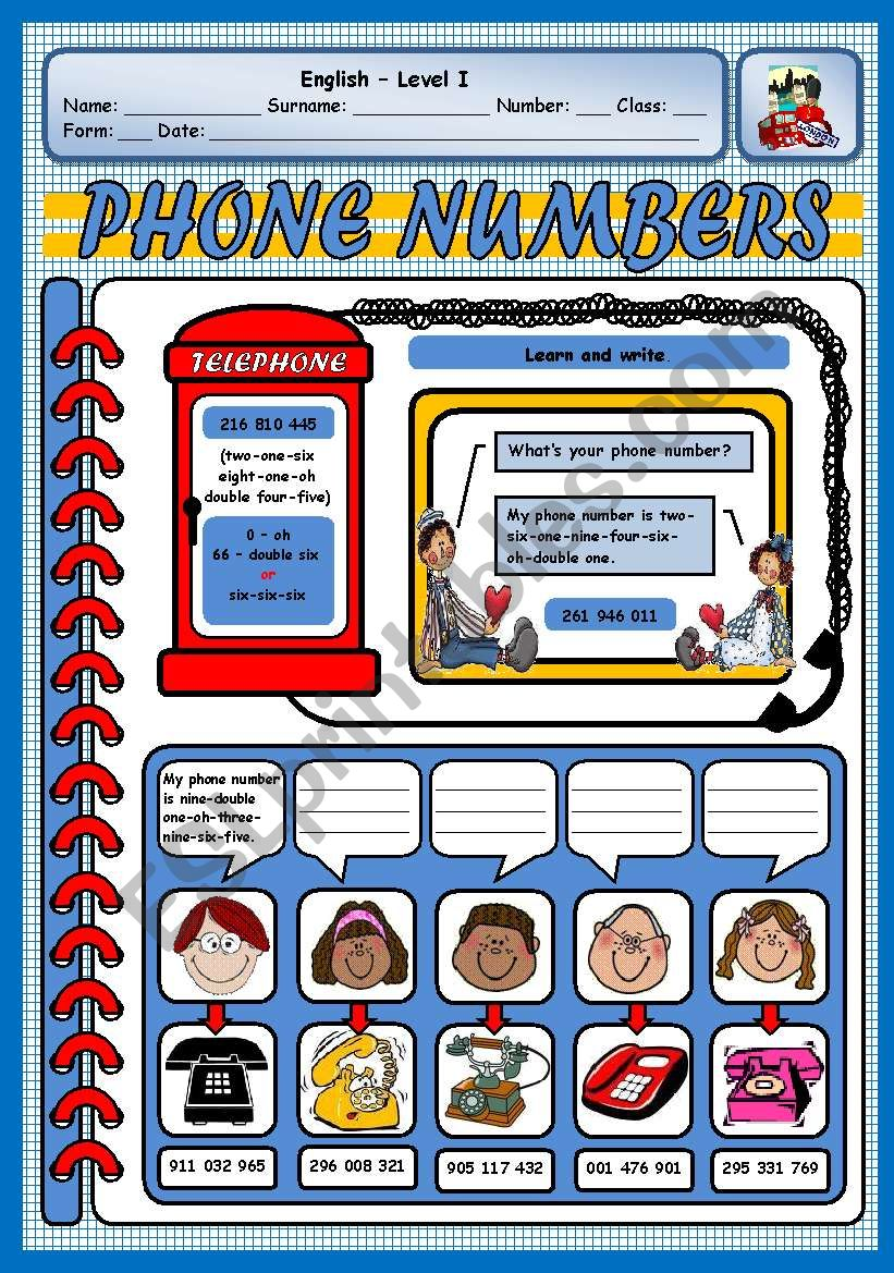 WHAT´S YOUR PHONE NUMBER? - ESL worksheet by xani