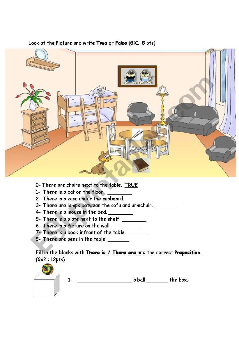 there is are prepositions esl worksheet by esrauyal. Black Bedroom Furniture Sets. Home Design Ideas