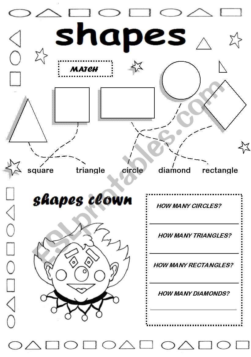 shapes - ESL worksheet by valleygirl