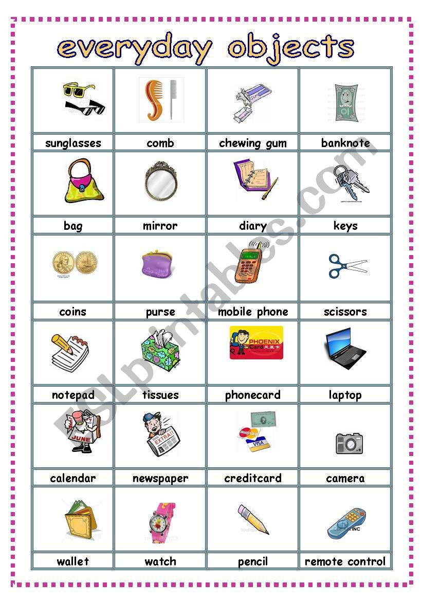 everyday objects pictionary worksheet