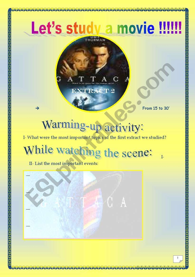 Video Time Gattaca Extract 2 Comprehensive Project