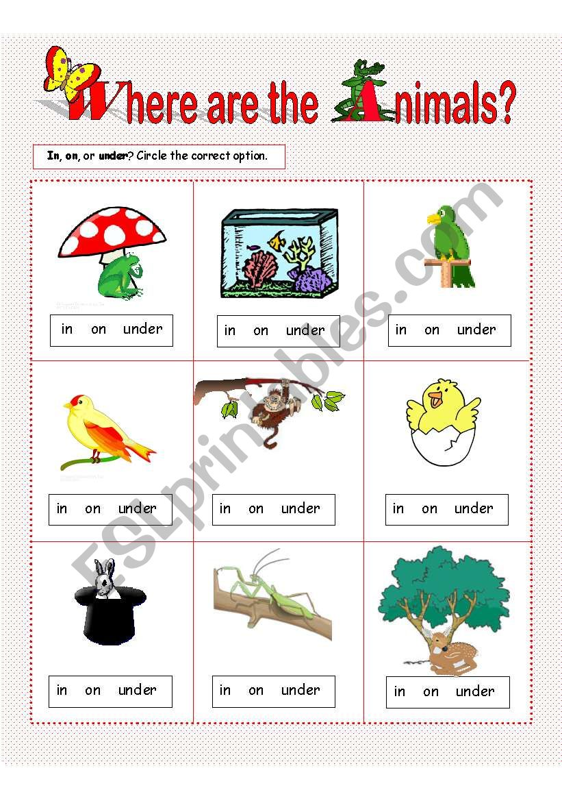 English Worksheets Prepositions Of Place In On Under