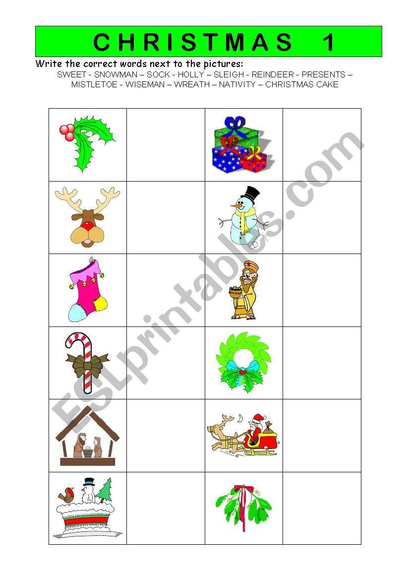 Christmas vocabulary worksheet 1/2