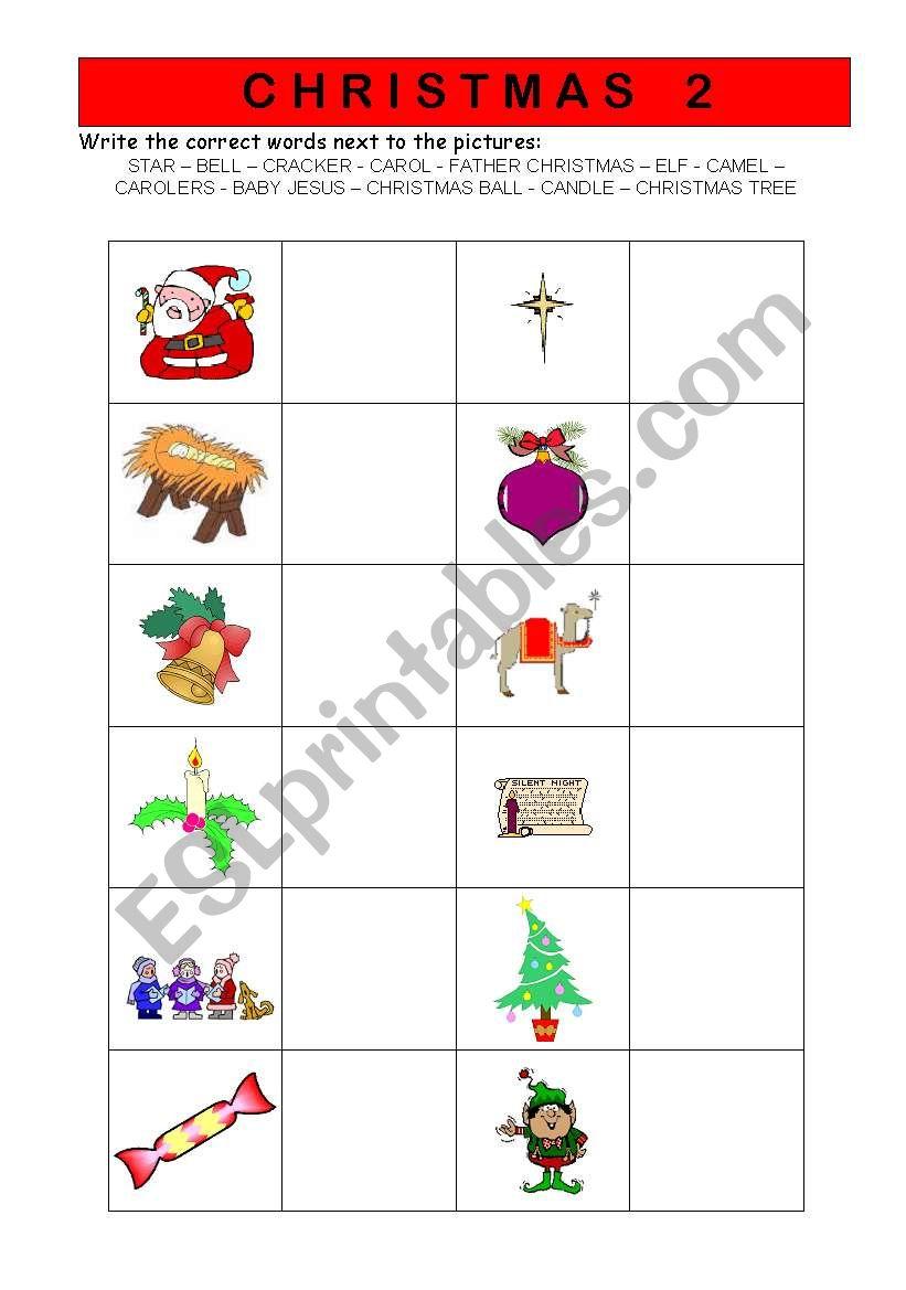 Christmas vocabulary  worksheet 2/2