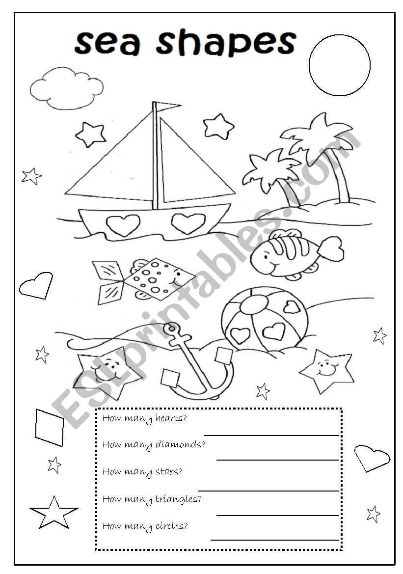 sea shapes - ESL worksheet by valleygirl