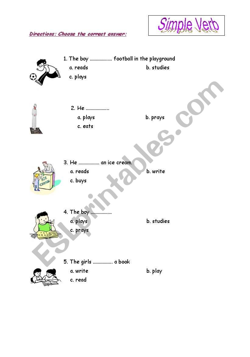 simple verb worksheet