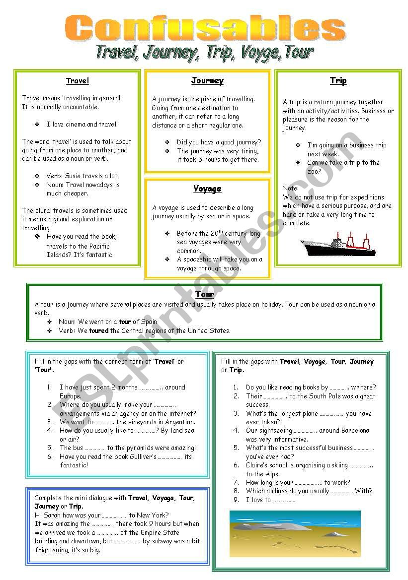 Travel, Journey, Trip, Voyage or Tour? - ESL worksheet by Rebs