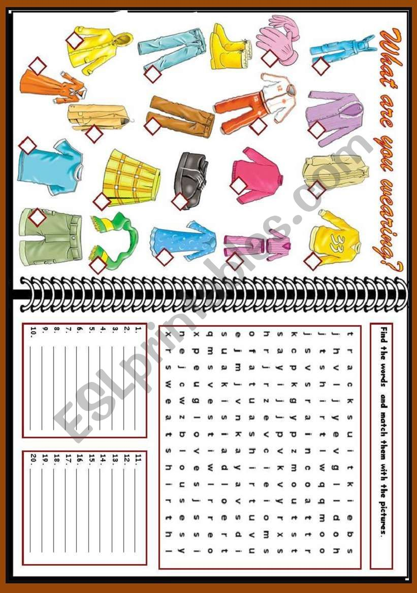 What are you wearing? worksheet