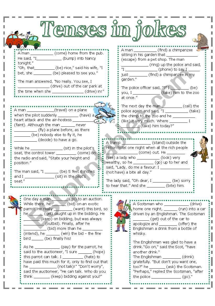 Tenses in jokes worksheet