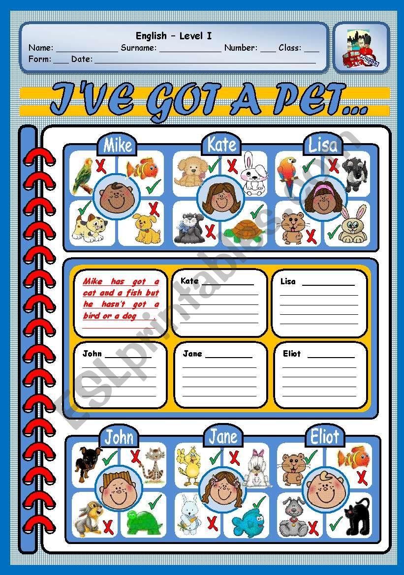 I´VE GOT A PET worksheet