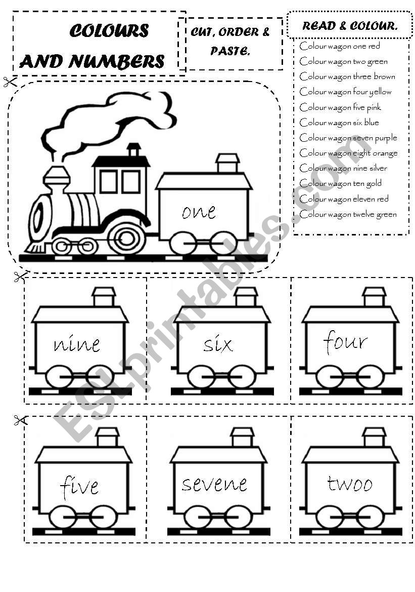 COLOURS AND NUMBERS TRAIN worksheet