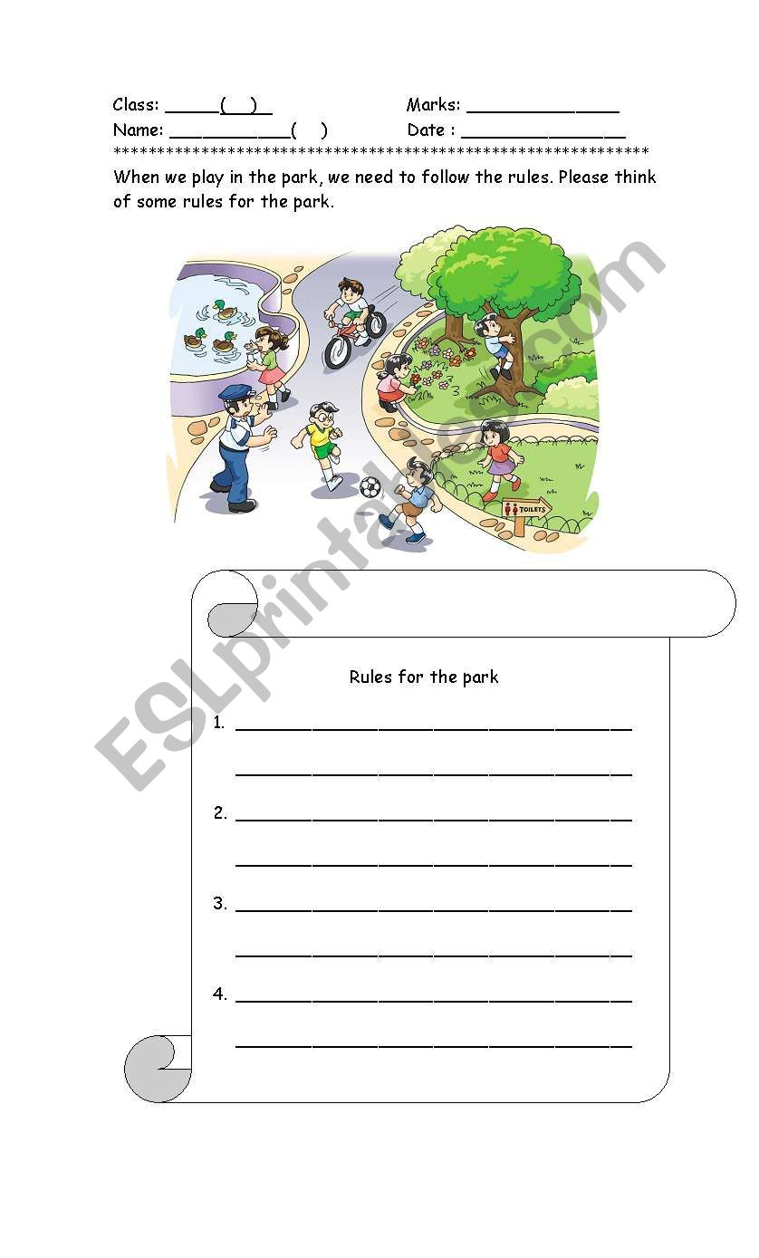 Rules in the park - ESL worksheet by jessicali
