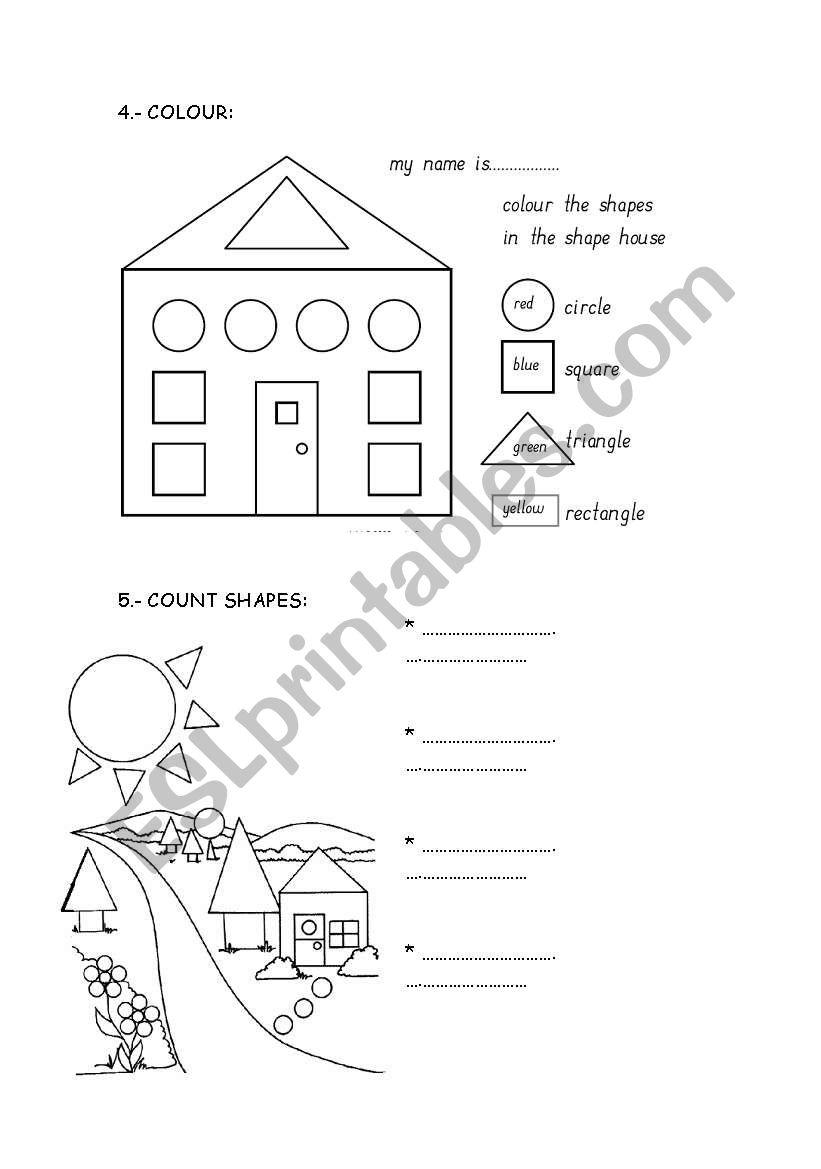 english worksheets shapes. Black Bedroom Furniture Sets. Home Design Ideas