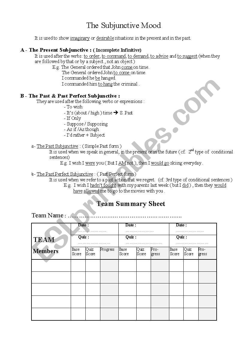 Worksheets Mood Worksheets english worksheets subjunctive mood worksheet