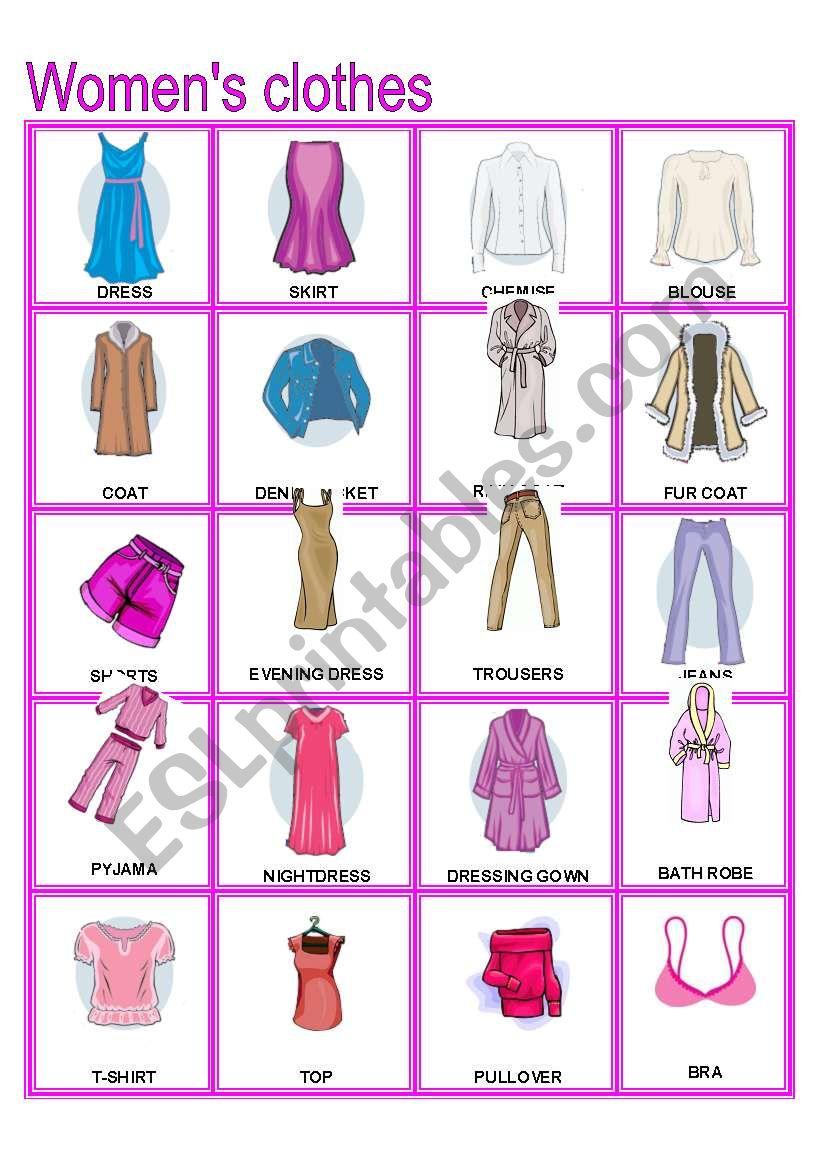 Women´s Clothes Pictionary (Part B)