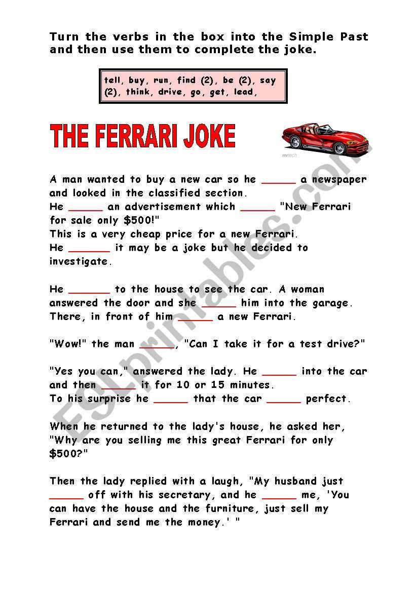 The Ferrari Joke worksheet