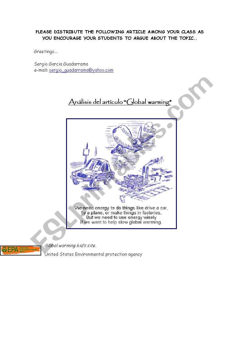 Global Warming Essay Esl Worksheet By Sergio Guadarrama