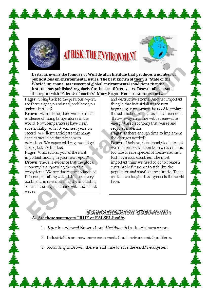 AT RISK : THE ENVIRONMENT worksheet