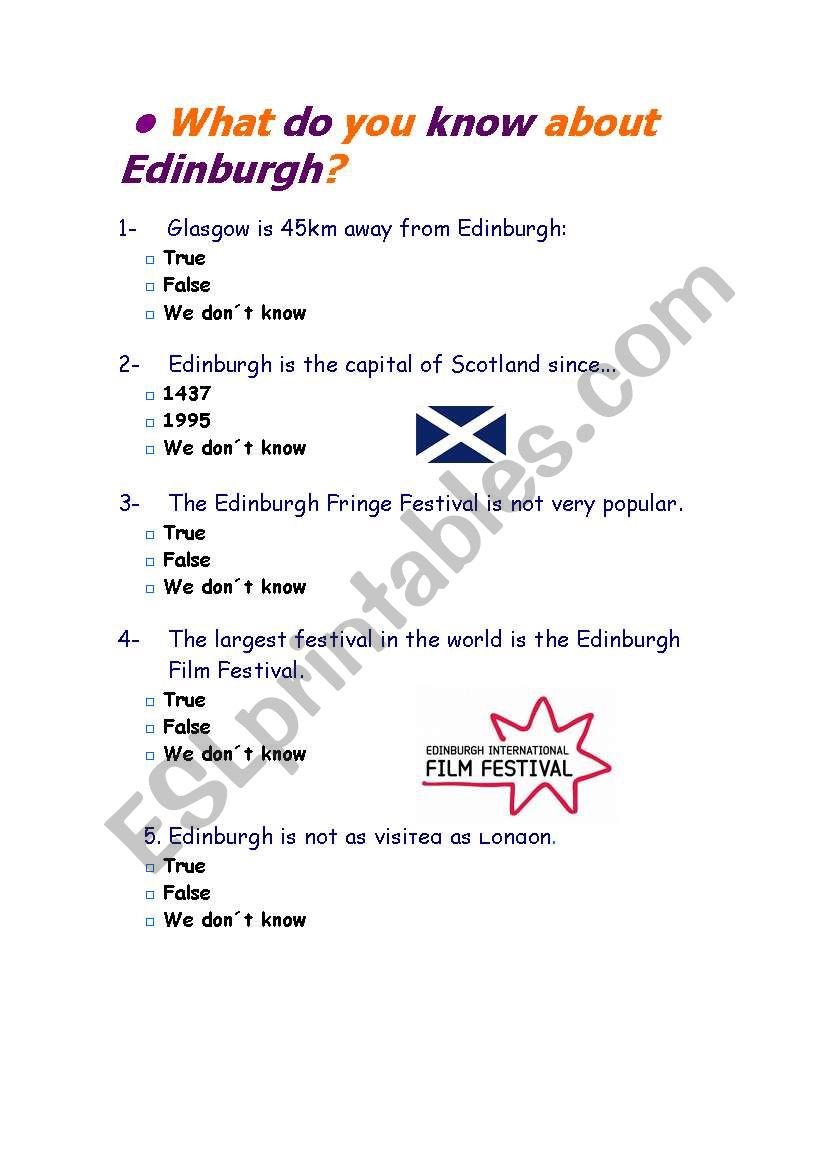 Edinburgh worksheet