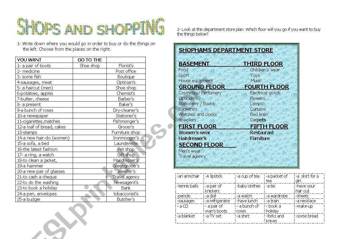 shops and shopping worksheet