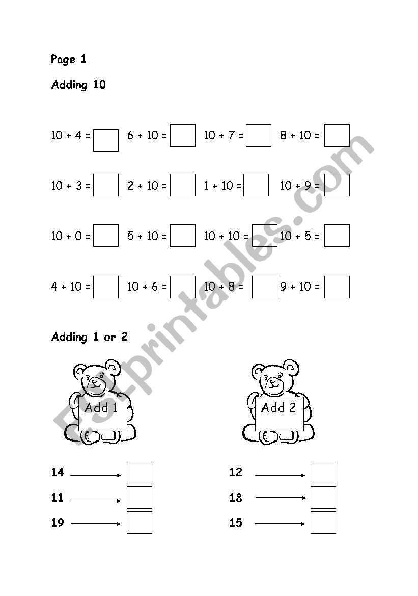 English Worksheets Adding 10