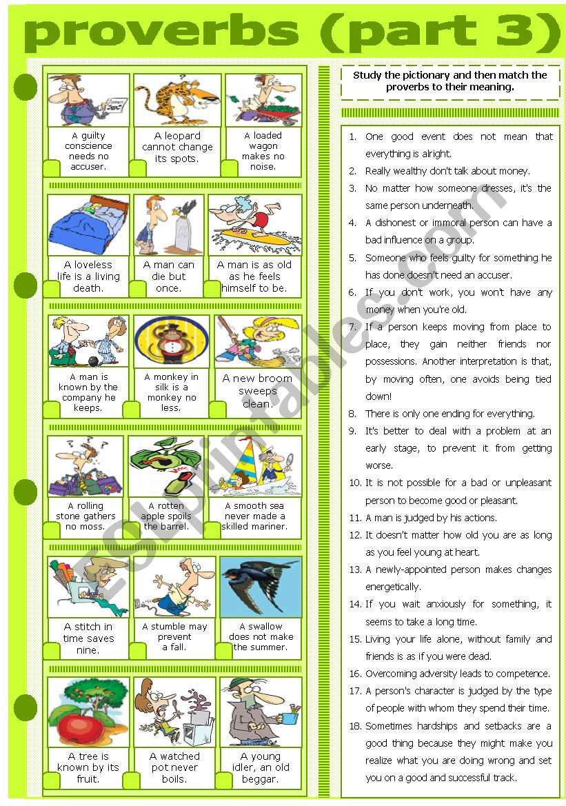 PROVERBS - PART 3 worksheet