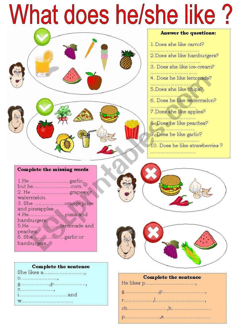 PRESENT SIMPLE 3rd person  worksheet