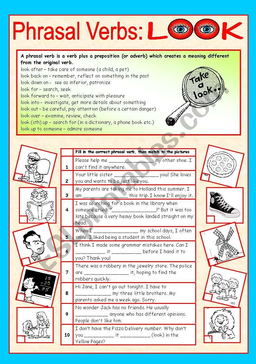 Phrasal verbs (1/10): LOOK worksheet