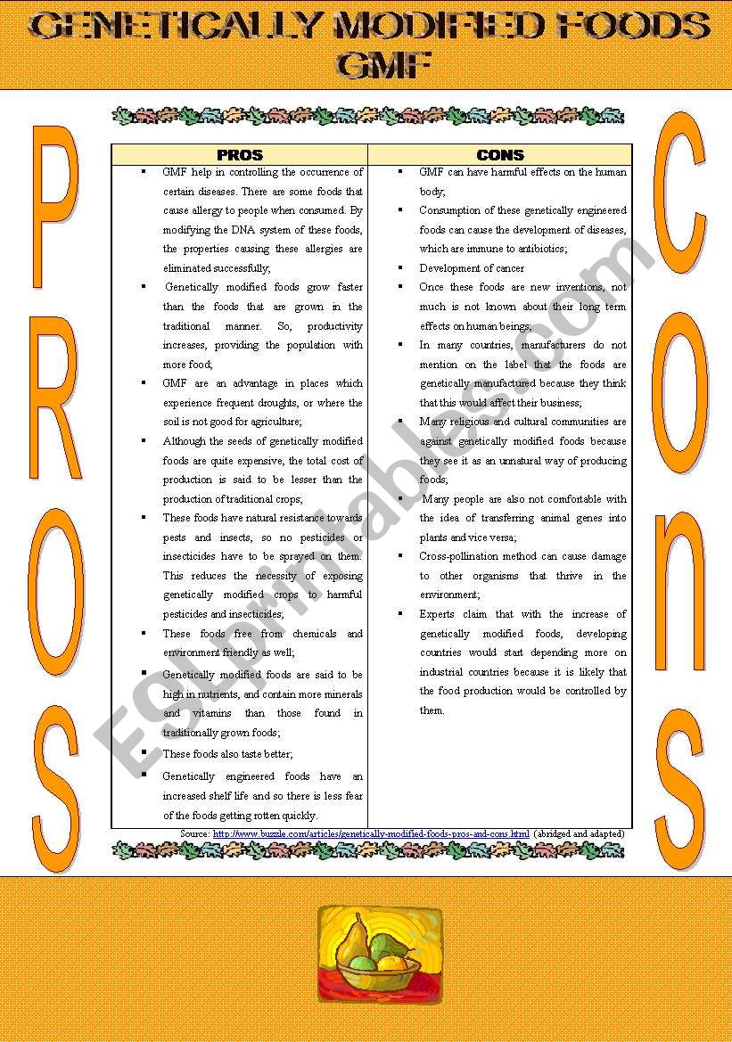 gmf pros and cons worksheet