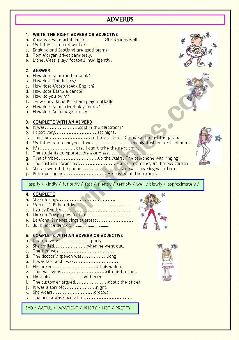 ADVERBS (TWO PAGES) worksheet