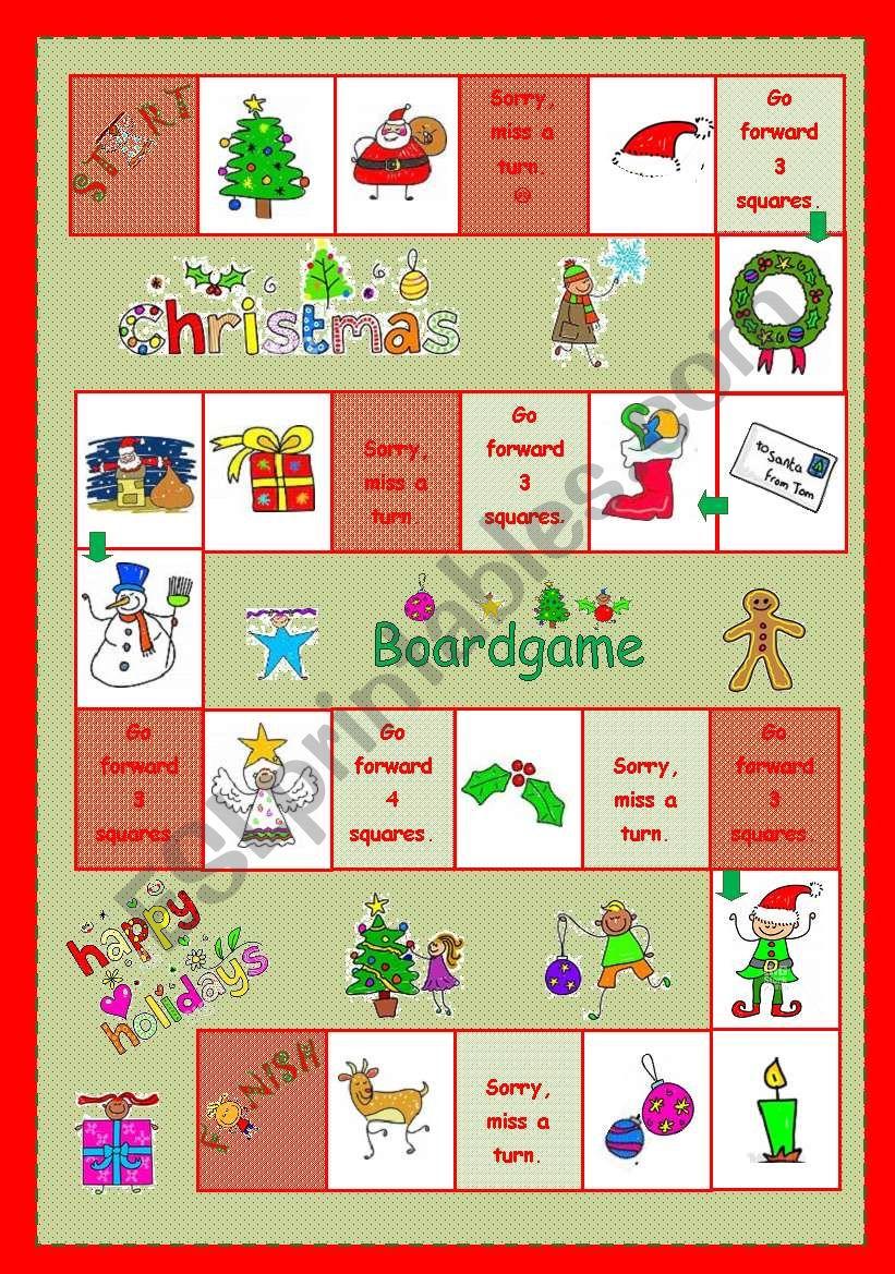 Christmas Boardgame worksheet