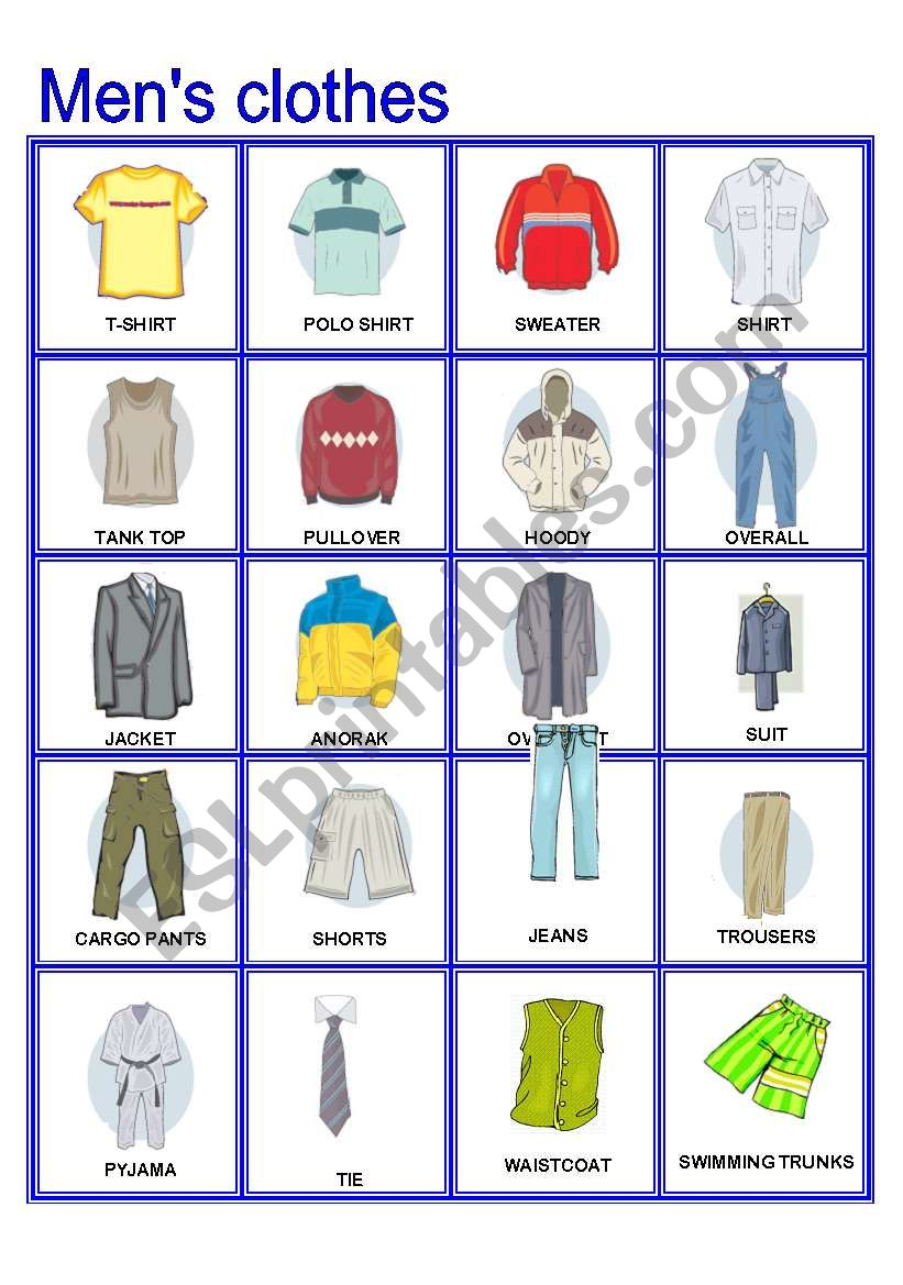Men´s Clothes Pictionary (Part B)