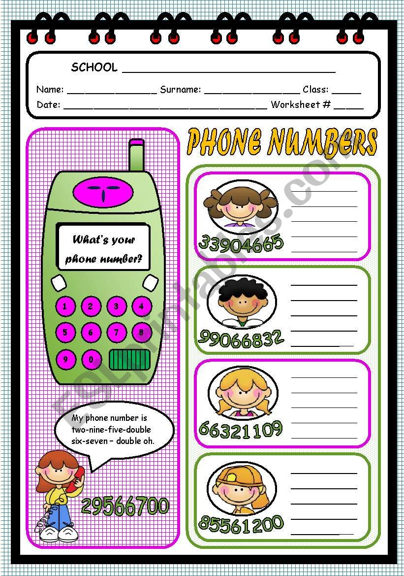 WHAT´S YOUR PHONE NUMBER? - ESL worksheet by evelinamaria