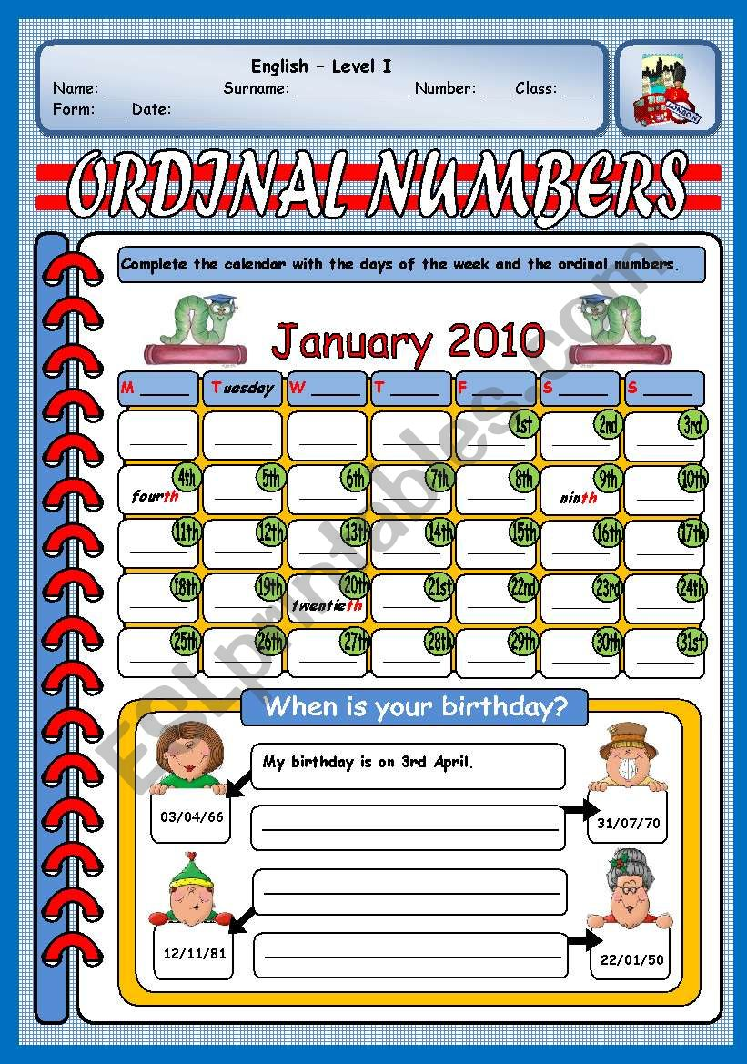 ORDINAL NUMBERS - BIRTHDAYS worksheet