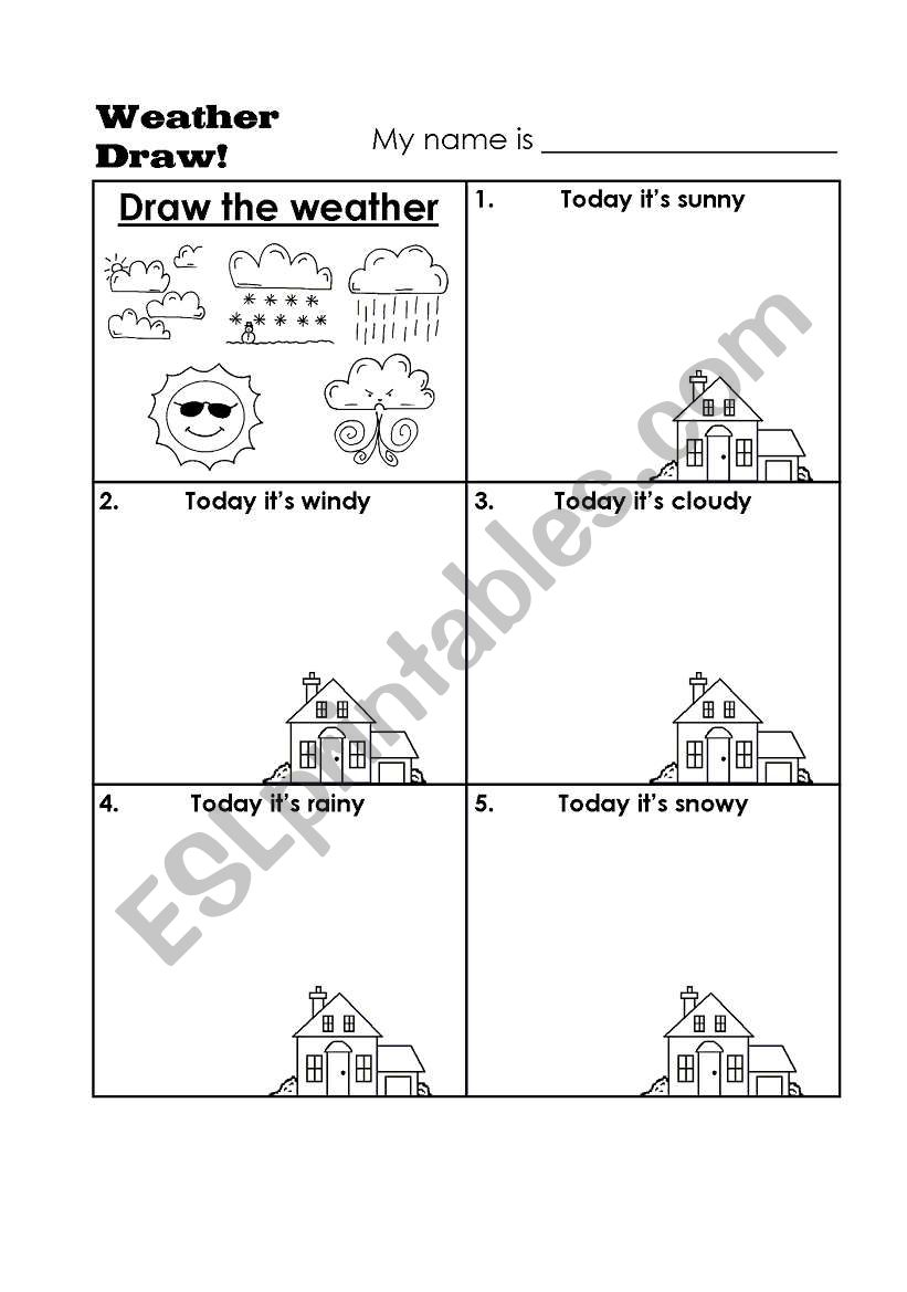 draw the weather esl worksheet by andpad. Black Bedroom Furniture Sets. Home Design Ideas