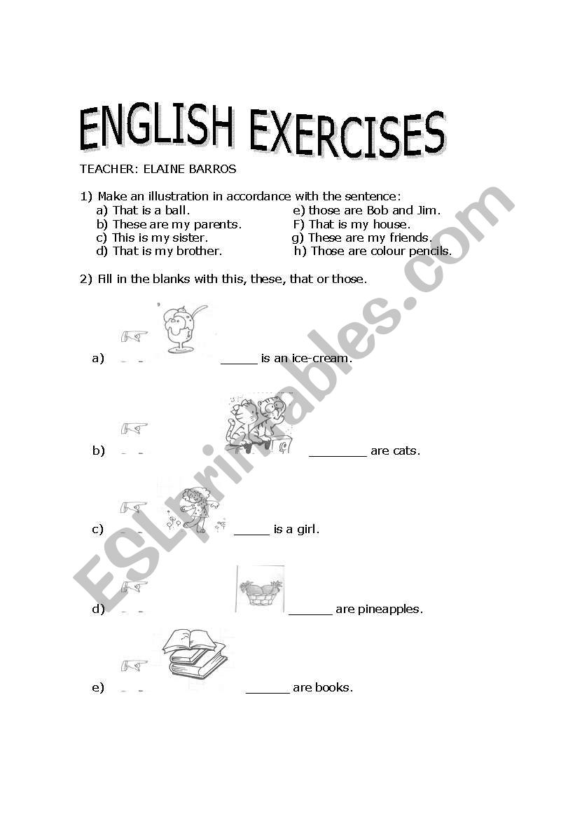 English Worksheets This And That