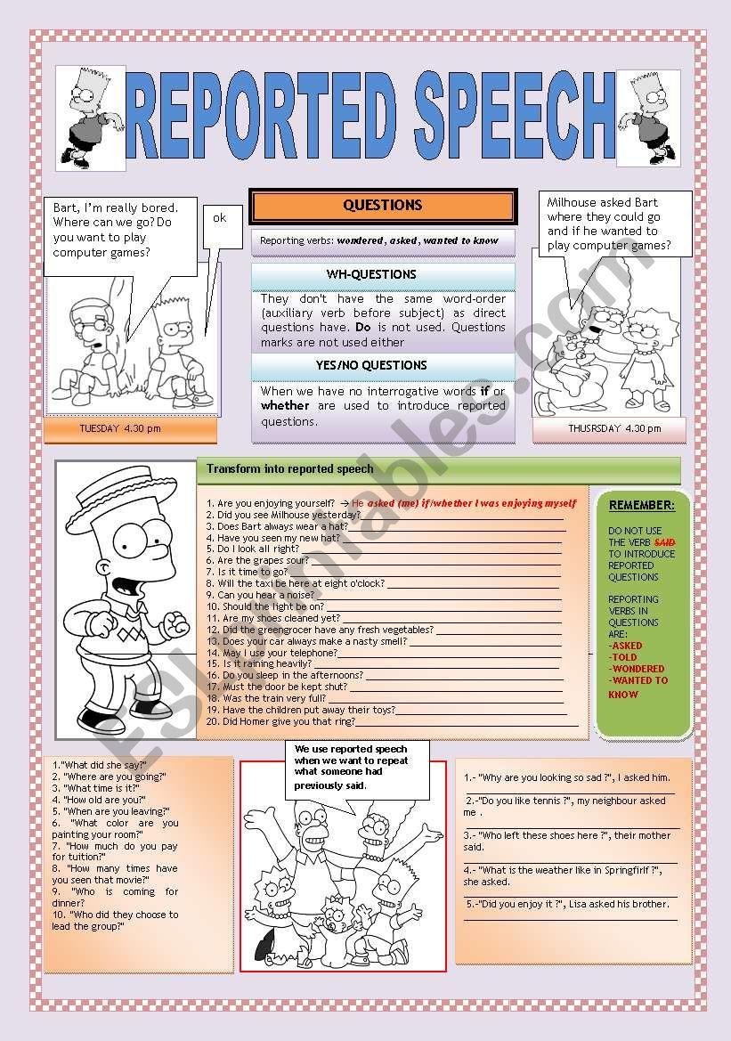 REPORTED SPEECH: QUESTIONS worksheet