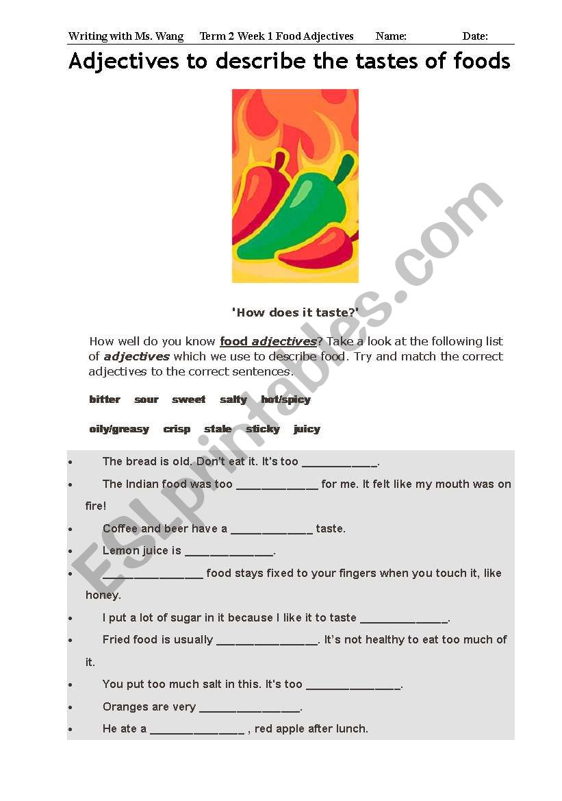 Food Adjectives worksheet