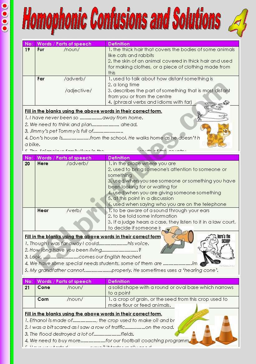 Homophonic Confusions and Solutions 4
