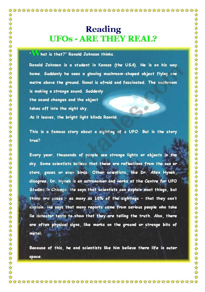 UFOs - Are they real? worksheet