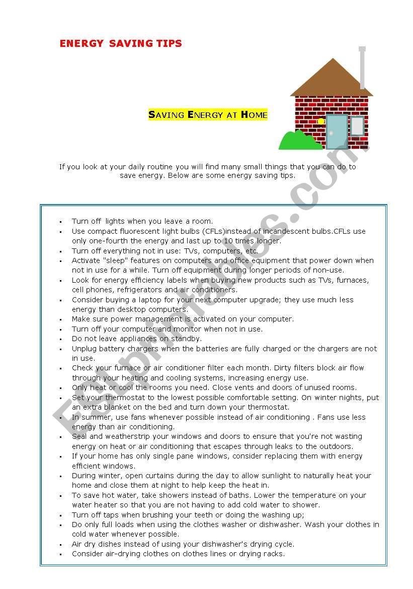 Energy saving tips worksheet