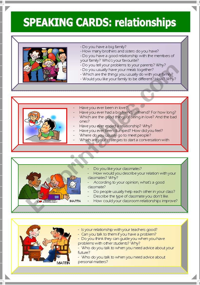 Speaking Cards: relationships (3 of 3)