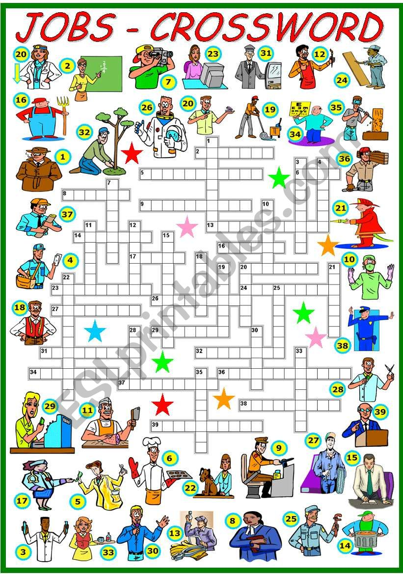 JOBS - CROSSWORD  (KEY AND B&W VERSION INCLUDED)
