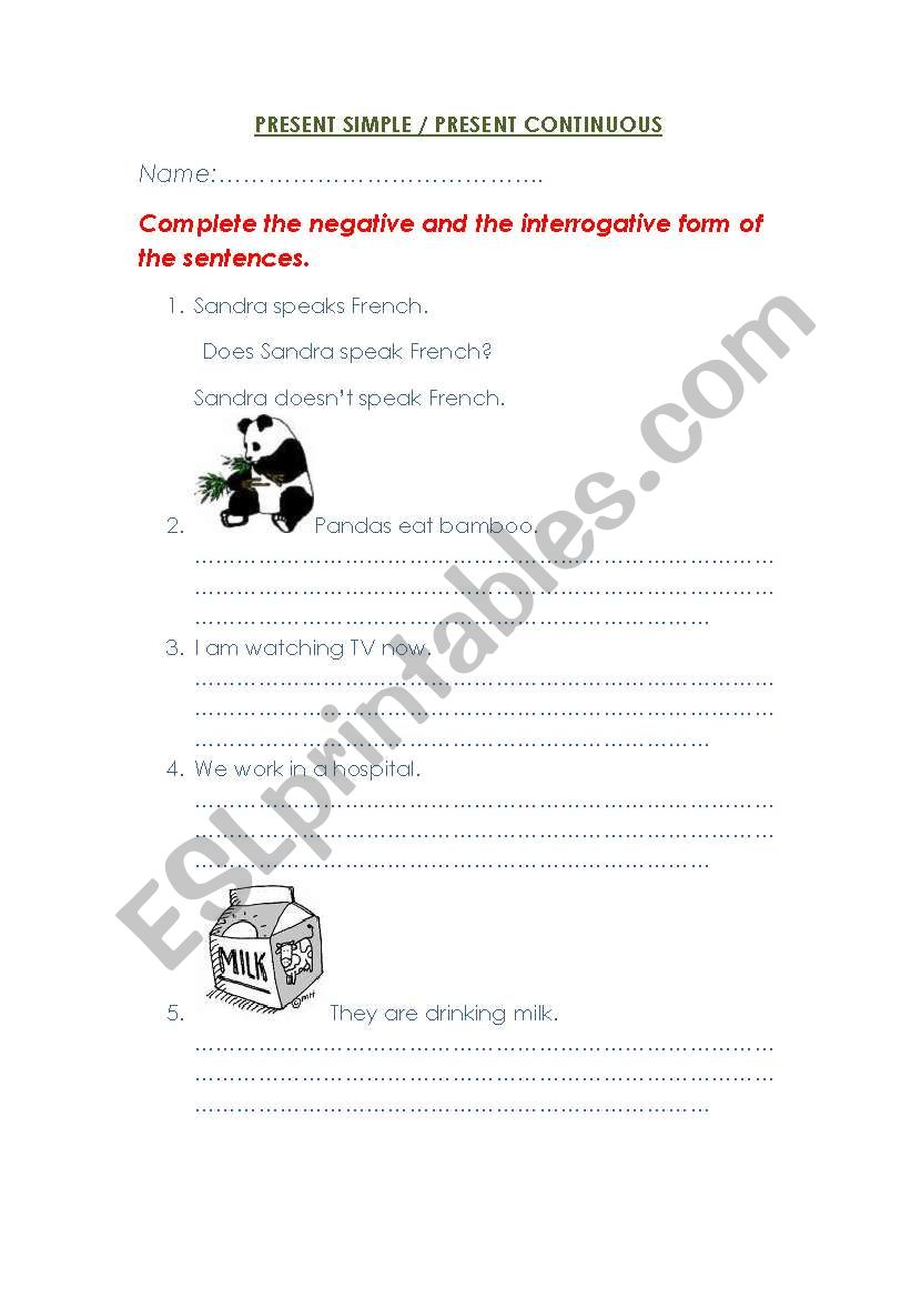 PRESENT SIMPLE/CONTINUOUS worksheet