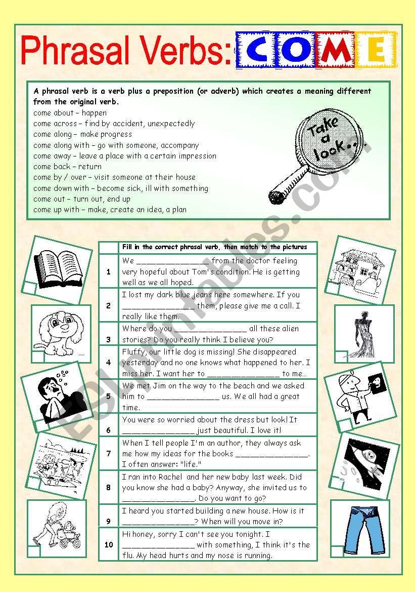 Phrasal Verbs (3/10): COME worksheet